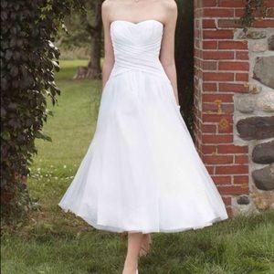 Strapless, midi, A-line, wedding gown